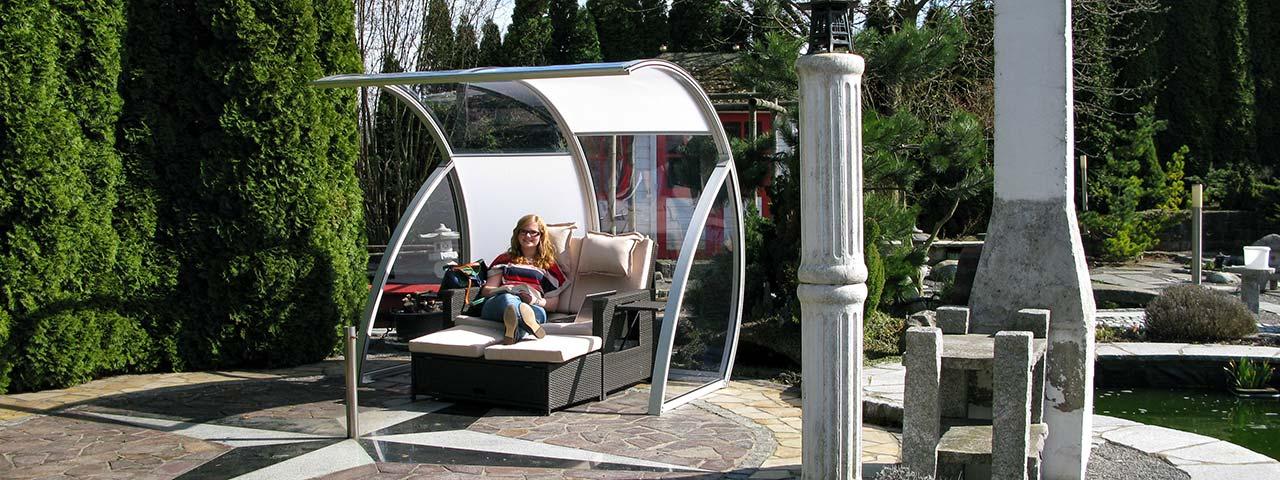 Strandkorb / Garten-Überdachung glasklar für freie Sicht VÖROKA MONA