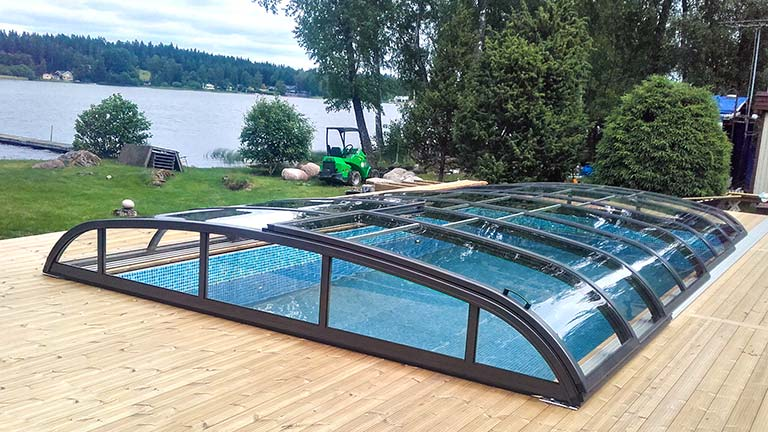 Pool cover / pool roof anthracite with sliding door VÖROKA FLAIR