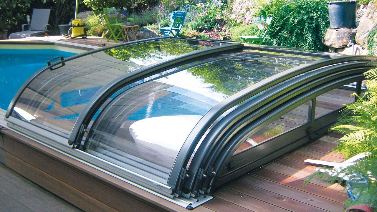 Schwimmbad-Überdachung / Pooldach teleskopisch schiebbar VÖROKA FLAIR-avantgarde