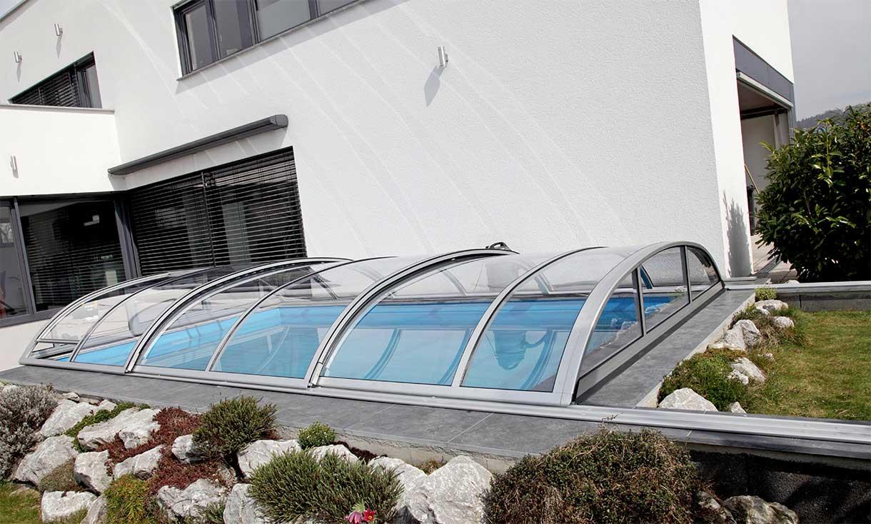 Pool canopy/ pool roofing silver anodised VÖROKA