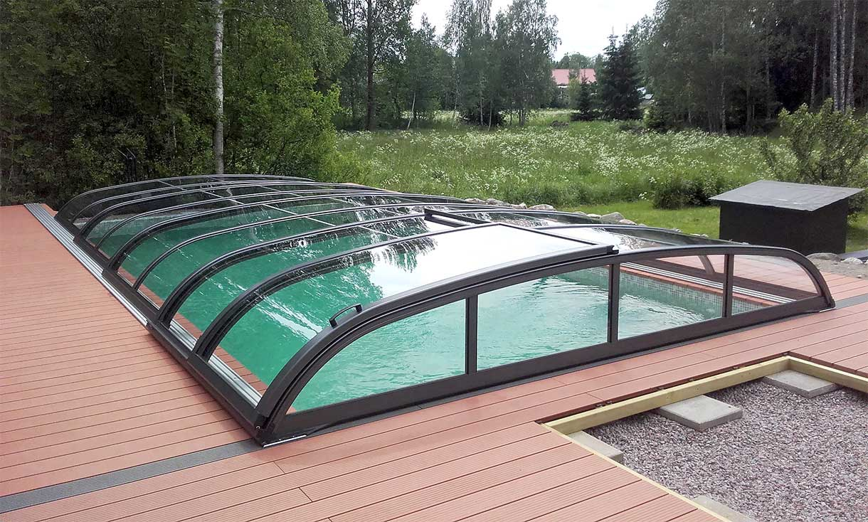 Poolcover / pool cover anthracite VÖROKA FLAIR