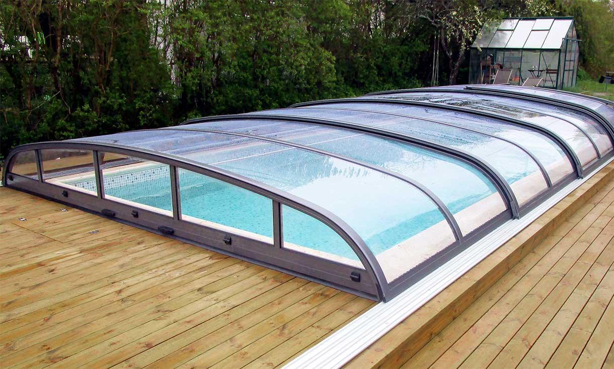 Swimming pool enclosure / pool cover anthracite VÖROKA FLAIR