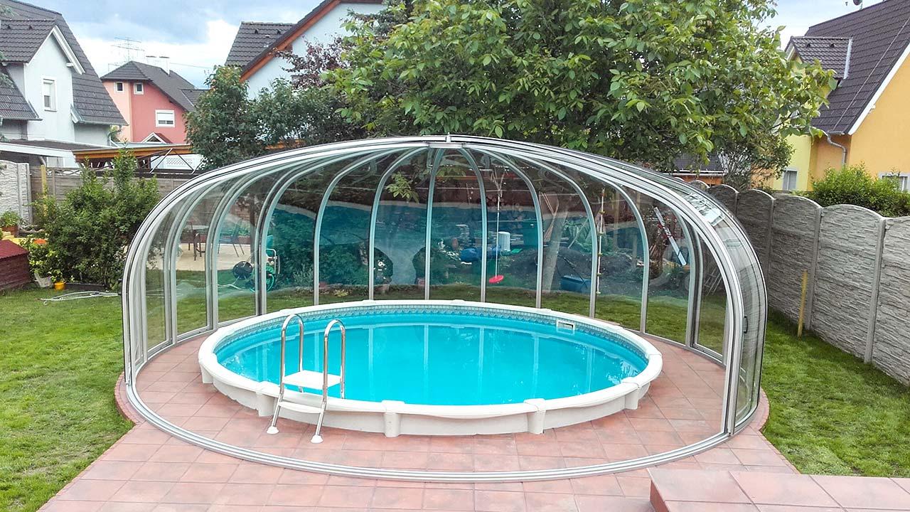 Pool-Überdachung / Pool-Abdeckung hoch & rund VÖROKA