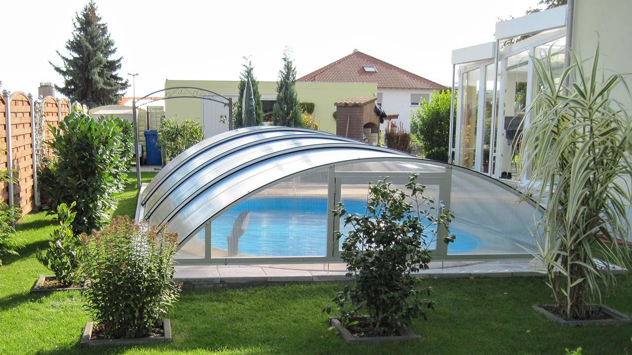 Swimming pool roof / pool cover inexpensive silver VÖROKA SELECT