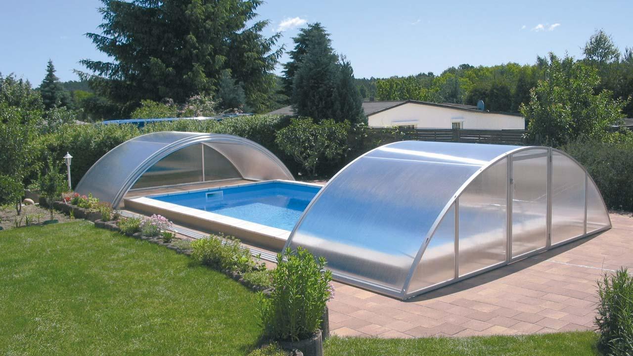 Cheap sliding pool cover / pool enclosure VÖROKA SELECT