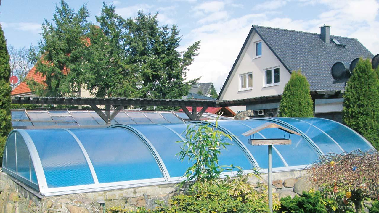 Inexpensive pool cover / pool enclosure VÖROKA SELECT