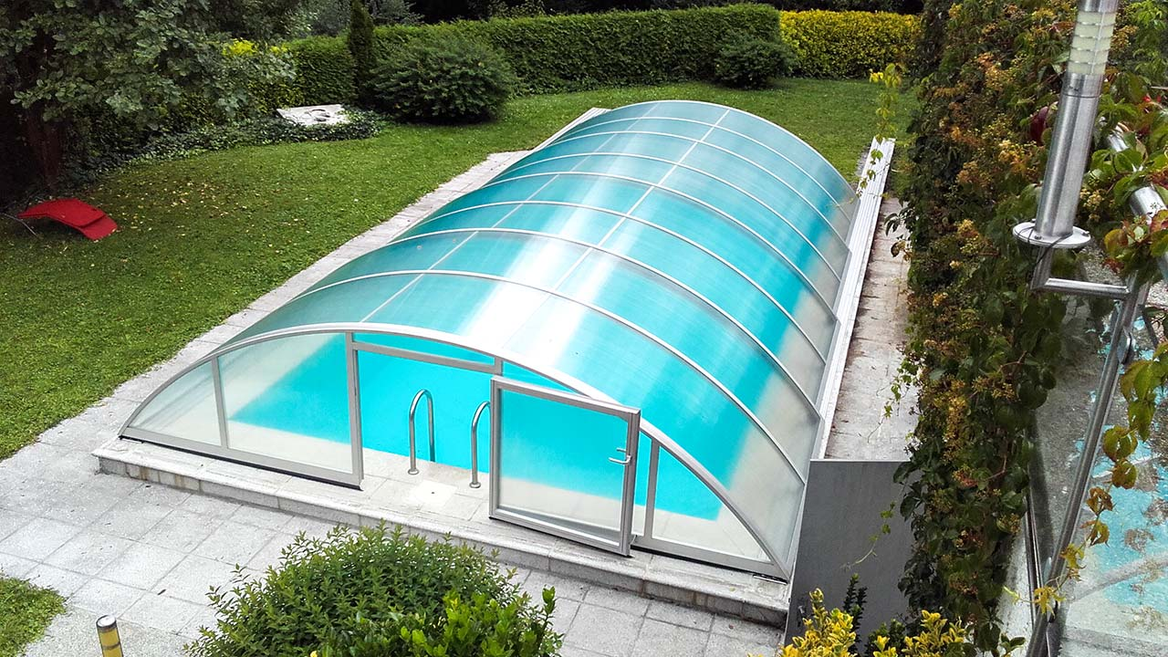 Pool enclosure / pool roofing cheap & with door VÖROKA SELECT
