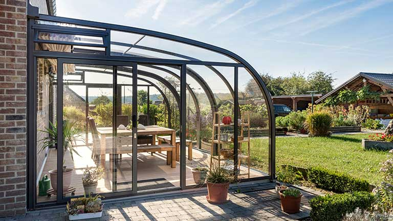 Conservatory / terrace roof inexpensive & slide-on