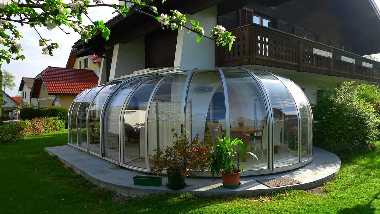 Wintergarten für Eck-Terrassen VÖROKA SAPHIR